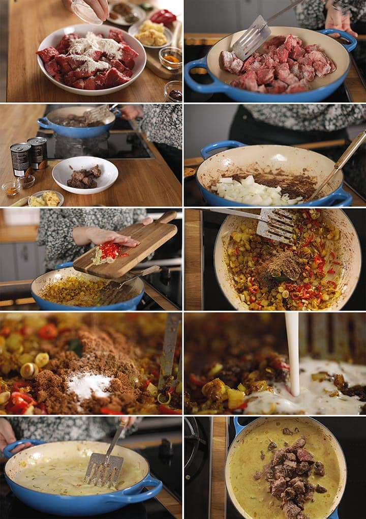 10 image collage showing how to make beef rendang
