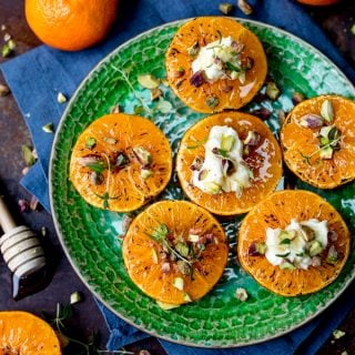 Brown Sugar Glazed Clementines with Cream Cheese, Honey and Pistachios