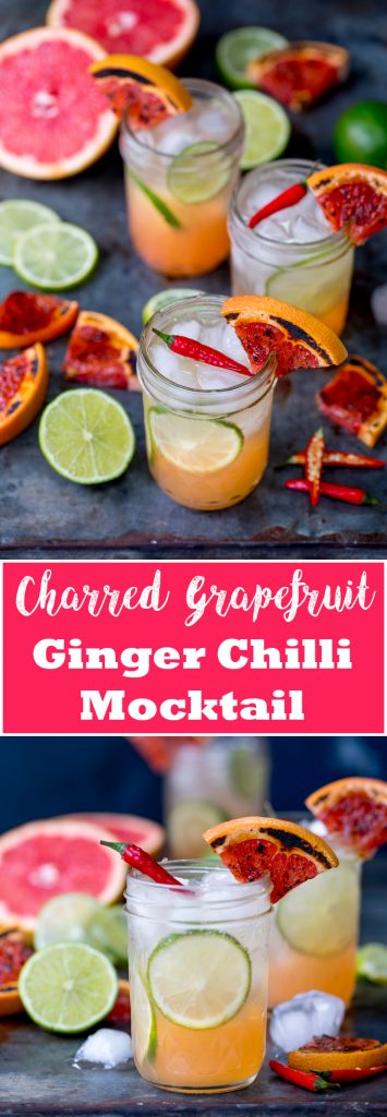 My Charred Grapefruit and Ginger Fizz with Chilli Syrup Mocktail certainly has a kick! #dryjanuary #interestingmocktail #mocktail #mocktailwithakick #tastymocktail