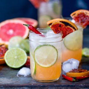 My Charred Grapefruit and Ginger Fizz with Chilli Syrup Mocktail certainly has a kick!