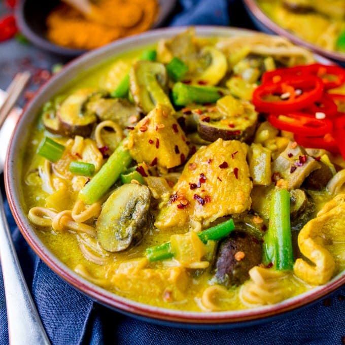 This Chicken Noodle Soup with Turmeric is satisfying comfort food - filling enough for dinner!