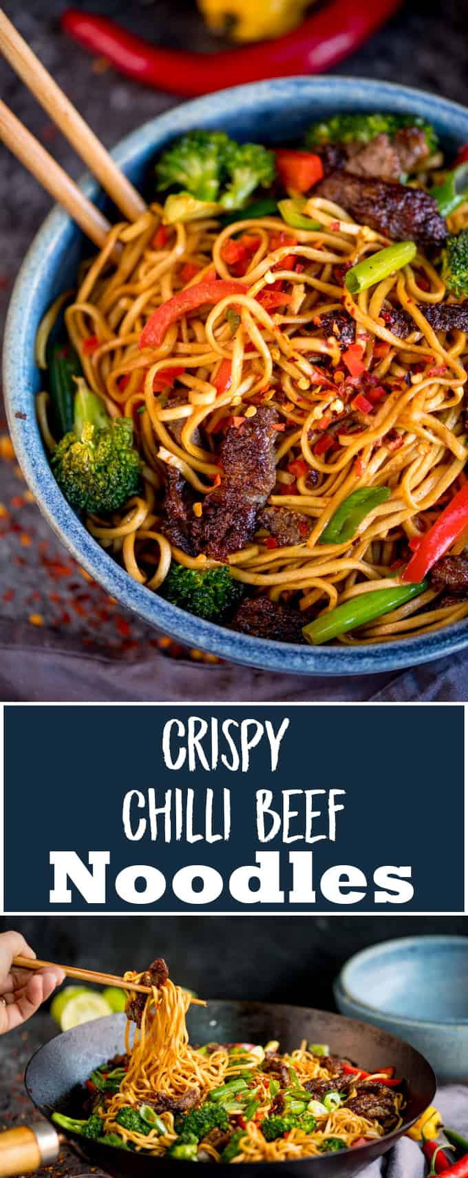 My Crispy Chilli Beef Noodles can be on the table in 20 minutes. A great alternative to that Chinese takeaway! #betterthantakeout #chilibeef #chillibeef #chinese #asianfood