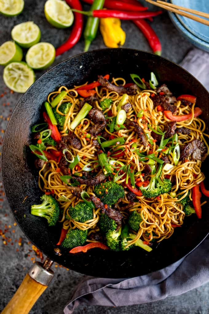 My Crispy Chilli Beef Noodles can be on the table in 20 minutes. A great alternative to that Chinese takeaway!