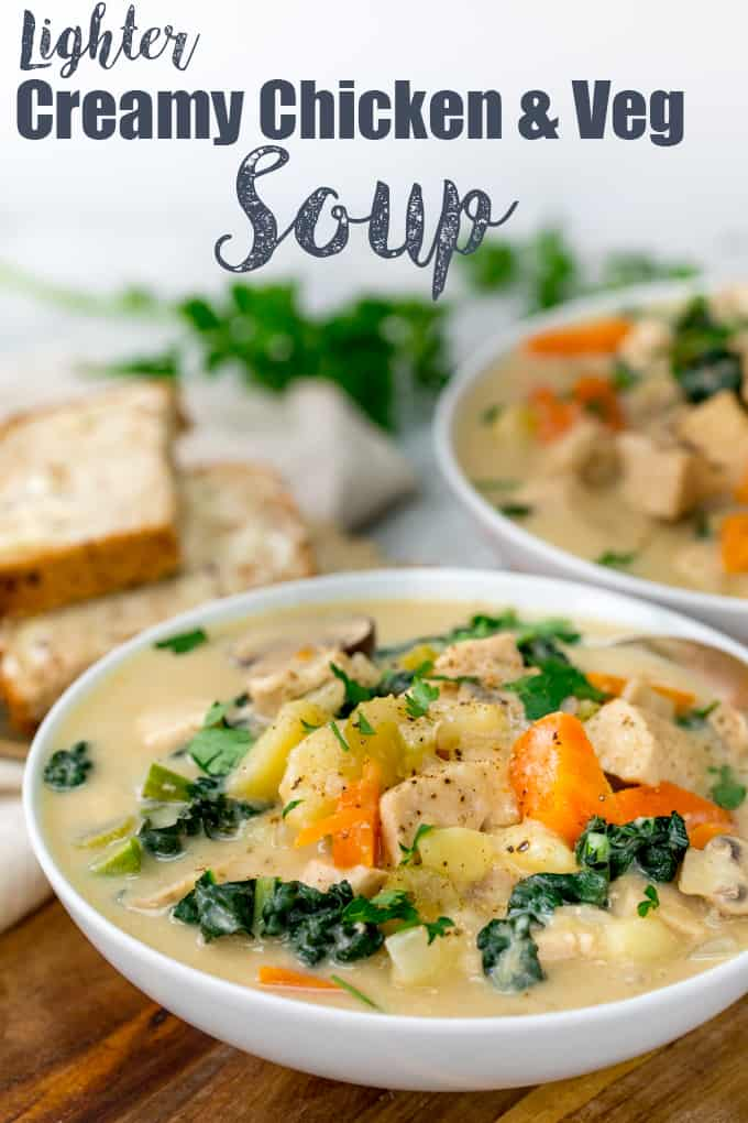 This Creamy Chicken and Vegetable Soup uses milk instead of cream for a lighter dinner! #chickensoup #lightersoup #chickenvegetablesoup #comfortfood