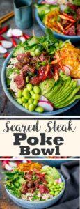 overhead shot of seared steak poke bowl with pineapple