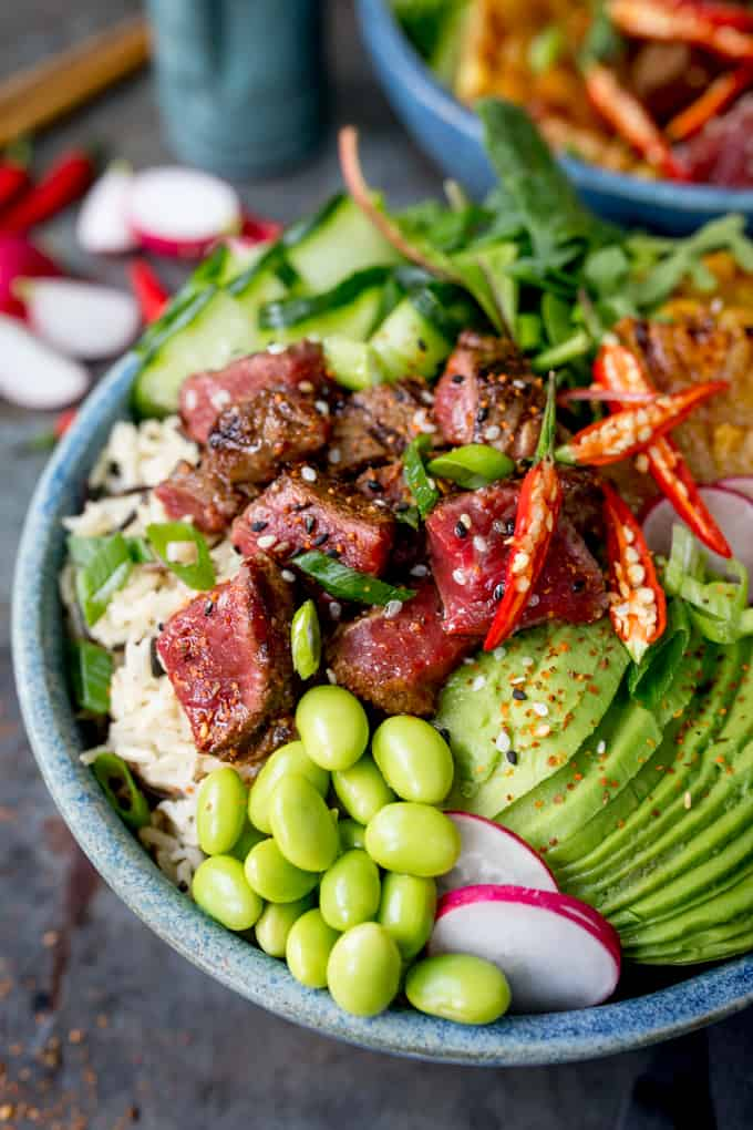 Seared Steak Poke Bowl Nicky S Kitchen Sanctuary
