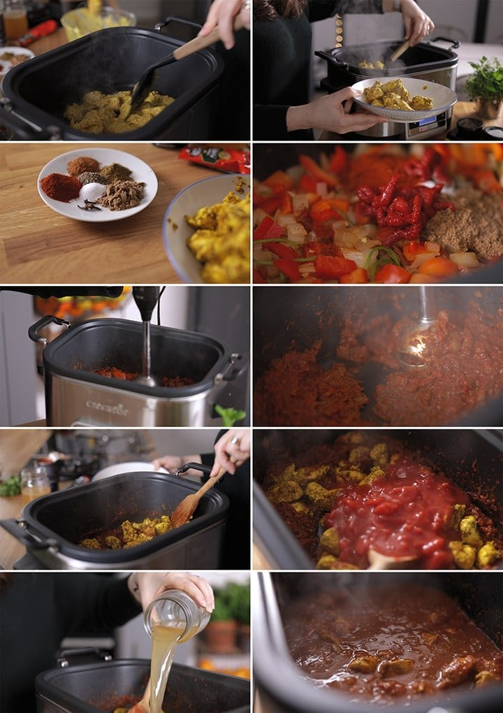 10 image collage showing how to make lighter/healthier chicken rogan josh in slow cooker