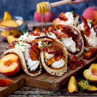 Pancake Tacos with Caramelized Peaches and Pancetta! Plus lashings of whipped cream...