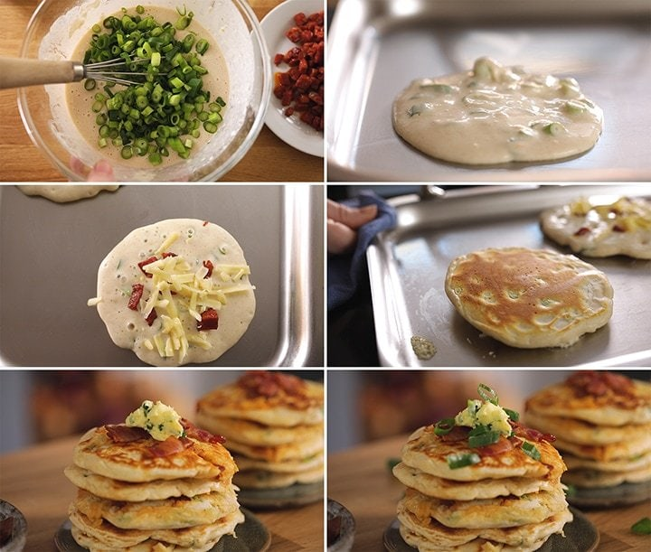 6 image collage showing how to make savoury dinner pancakes