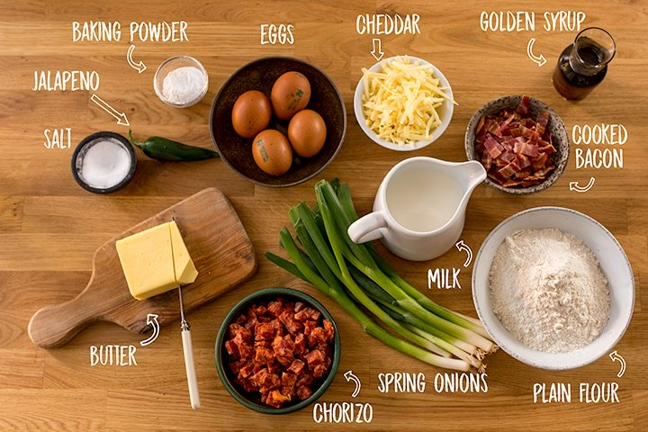 Ingredients for savoury dinner pancakes on a wooden table