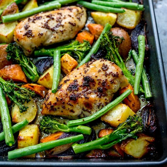 Sheet Pan Honey Mustard Chicken With Vegetables Nicky S Kitchen Sanctuary