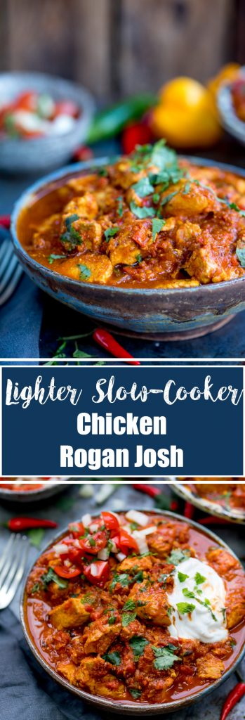 This Healthier Slow Cooked Spicy Chicken Rogan Josh is just the thing when you're trying to be good. Syn free on Slimming world! Gluten free too. #synfreecurry #slimmingworld #synfree #lightercurry #crockpotcurry