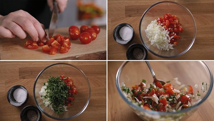 4 image collage showing how to make tomato and onion salad