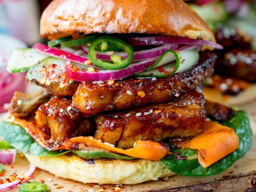 Sticky Belly Pork Burger With Quick Pickled Vegetables Nicky S Kitchen Sanctuary