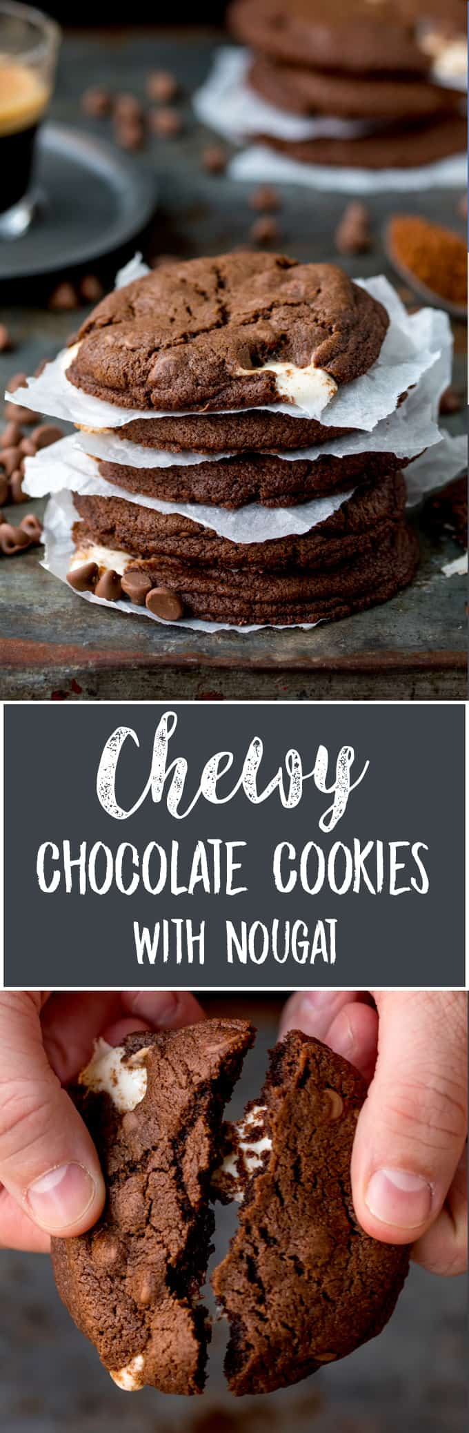 Two images - top one of stack of double chocolate cookies. Bottom image of hands breaking a single cookie in half.