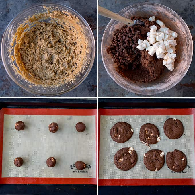 Four prep shots of chocolate cookie making process. 1: cookie dough mixture in bowl. 2: cookie dough mixture with added cocoa, chocolate chips and nougat pieces in bowl. 3: 6 balls of cookie dough on baking sheet. 4: 6 baked chocolate cookies on baking tray.