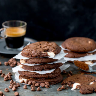 Chewy Chocolate Cookies with Nougat