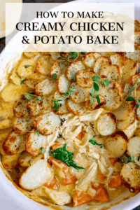 This Creamy Chicken and Potato Bake with extra veggies is a whole meal in one dish! Kind of like a creamy chicken, carrot and spinach casserole, topped with potato gratin! #potatogratin #onepotmeal #creamychicken #chickencasserole