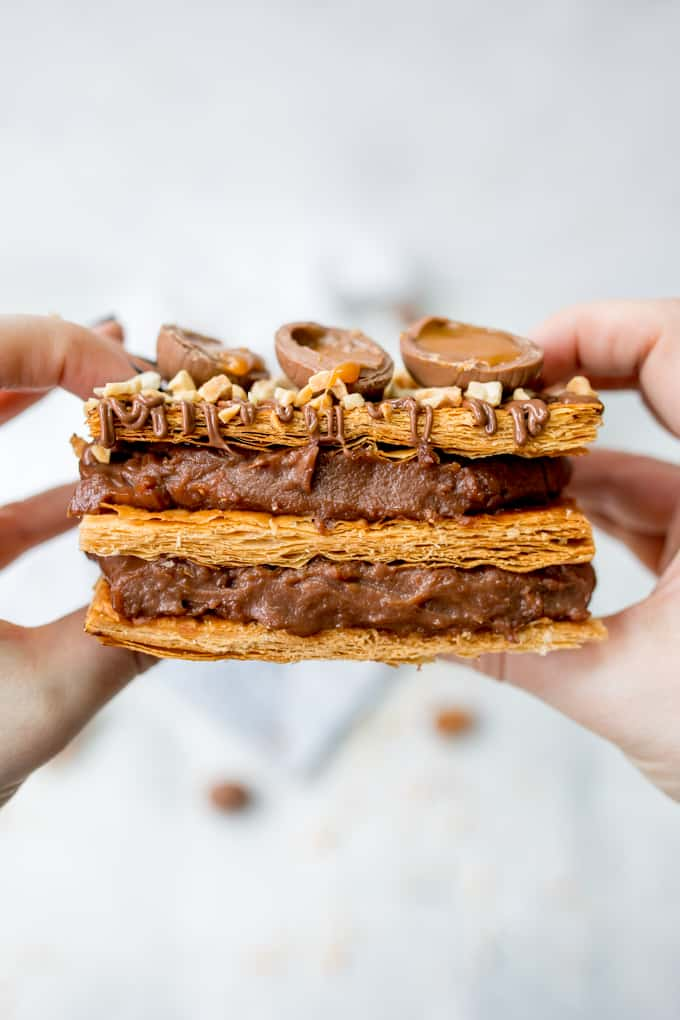 A chocolate lover's dream! This Easter Chocolate Caramel Egg Mille Feuille (chocolate vanilla slice) ticks all the boxes for Easter Dessert! #easterdessert #millefeuille #chocolate #chocolatecustard #vanillaslice #custardslice