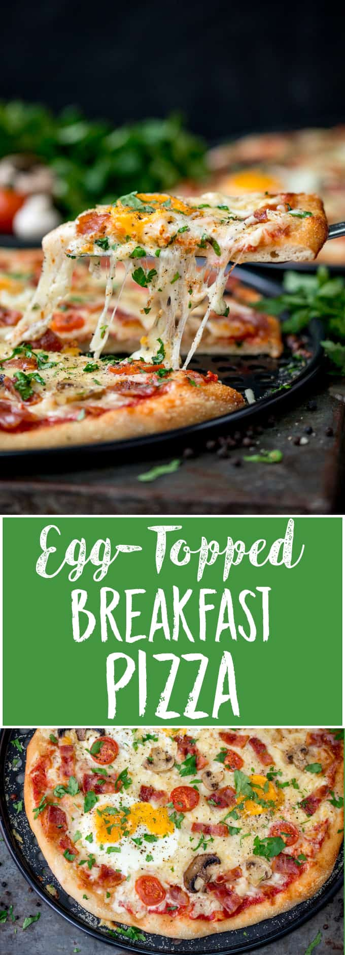 Not just any old pizza - this weekend breakfast pizza comes with the full-English works! Bacon, tomatoes, mushrooms and dippy eggs! A fab breakfast treat! Check out my tips for getting a runny egg yolk to dip those pizza crusts into! #breakfastpizza #weekendbreakfast #eggs #eggpizza #ad