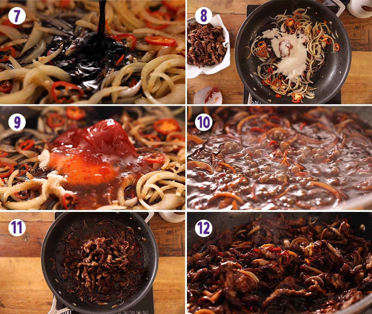 6 image collage showing how to make crispy chilli beef