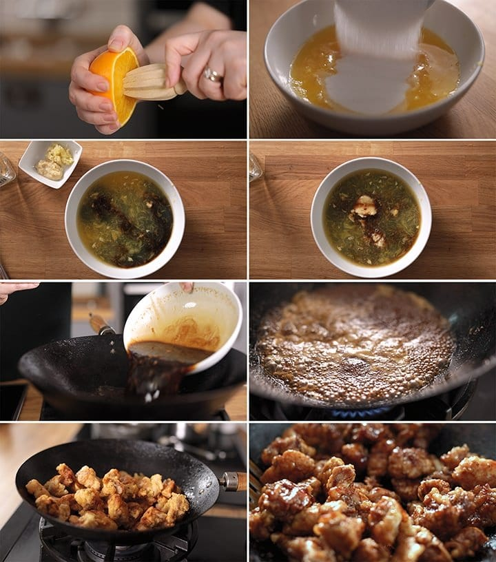 6 image collage showing how to make orange chicken sauce