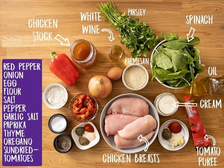 Ingredients for Tuscan chicken on a wooden table