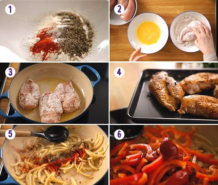 6 image collage showing initial prep steps for making Tuscan Chicken