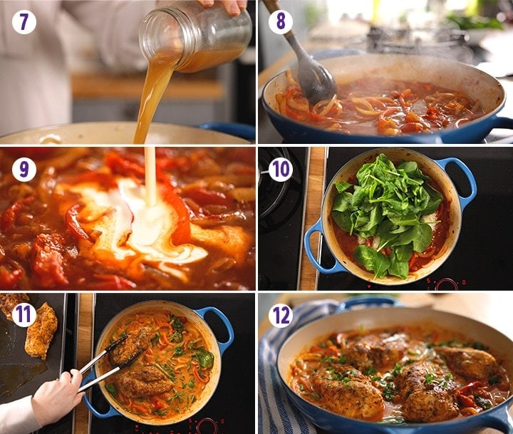 6 image collage showing final prep steps for making Tuscan Chicken