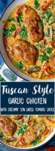 Chicken breasts in pan with sundried creamy tomato sauce, spinach and peppers.