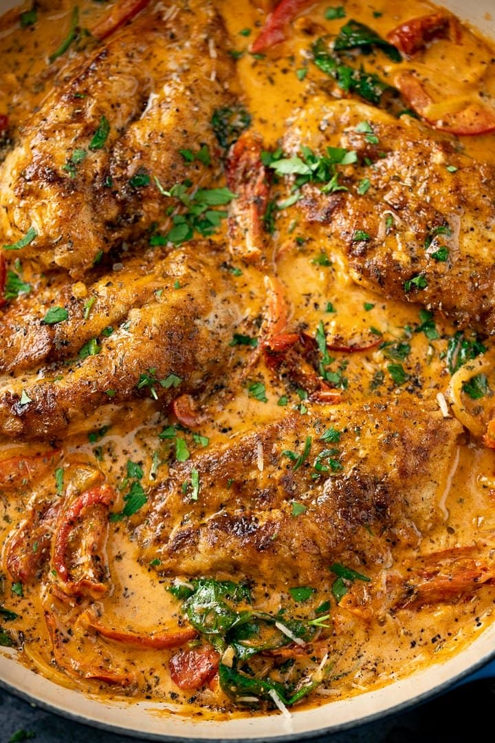 Overhead of Creamy Tuscan Chicken with sundried tomatoes