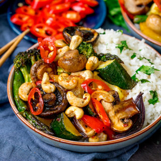Asian Mushrooms with Cashews and Veggies