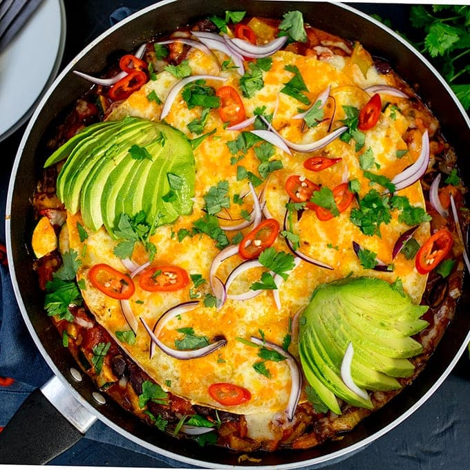 Square image of vegetarian Mexican tortilla pan.