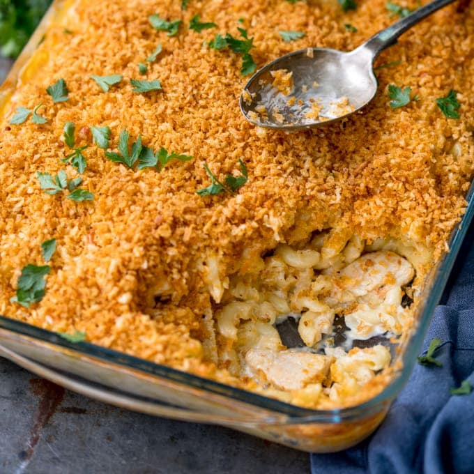 square image of mac and cheese with crunchy topping