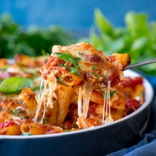 Sausage Pasta Bake with Chorizo and Brie