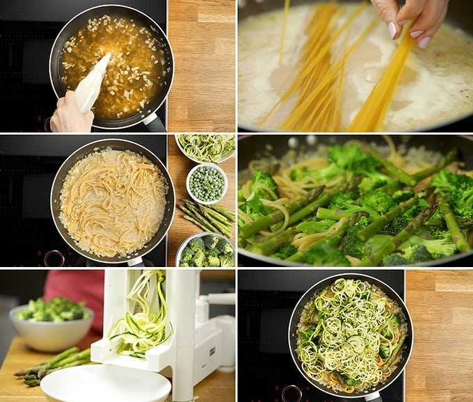 6 prep photos of the making of one pot garlic and herb spaghetti with spring vegetables