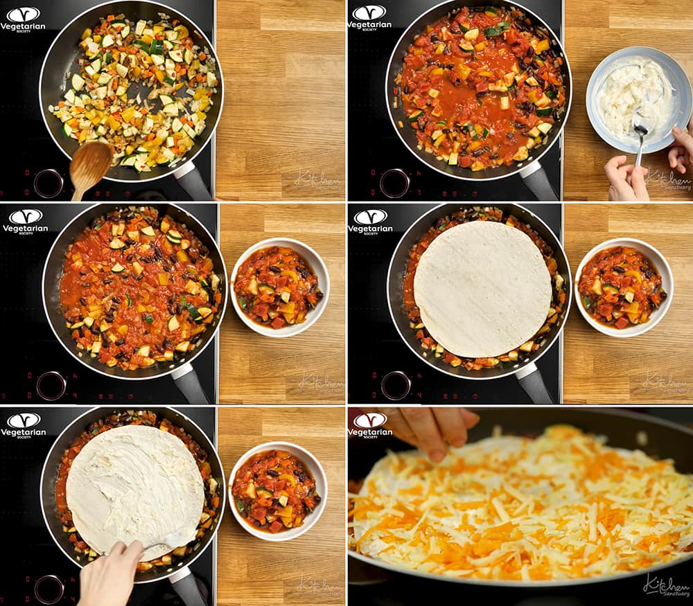 6 prep photos for making vegetarian Mexican tortilla pan.