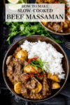 beef massaman curry in a bowl with a text overlay