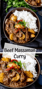2 image collage of bowls of beef massaman curry with a text overlay
