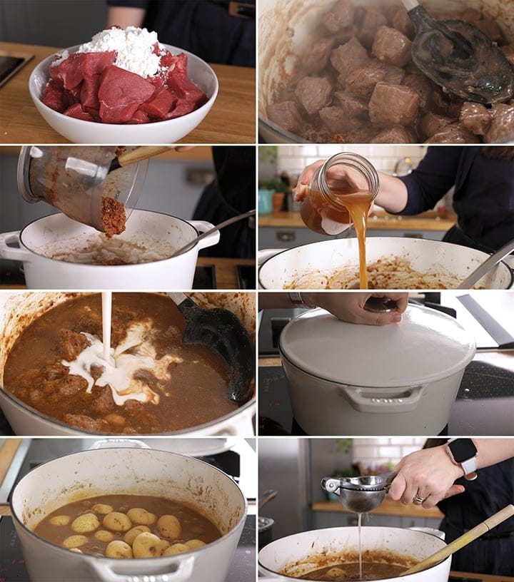 8 image collage showing how to make beef massaman curry