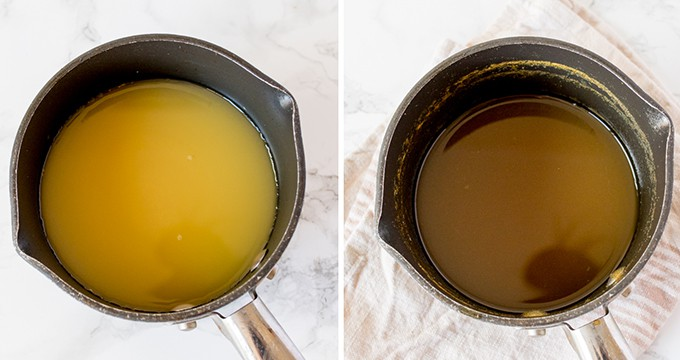 pan of orange juice on left. Pan of orange juice on right that has been reduced by two thirds.