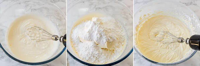 Three photos making cheesecake filling - whipping cream, adding cream cheese and sugar, whisking together.