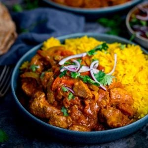 Square image of chicken Jalfrezi with pilau rice