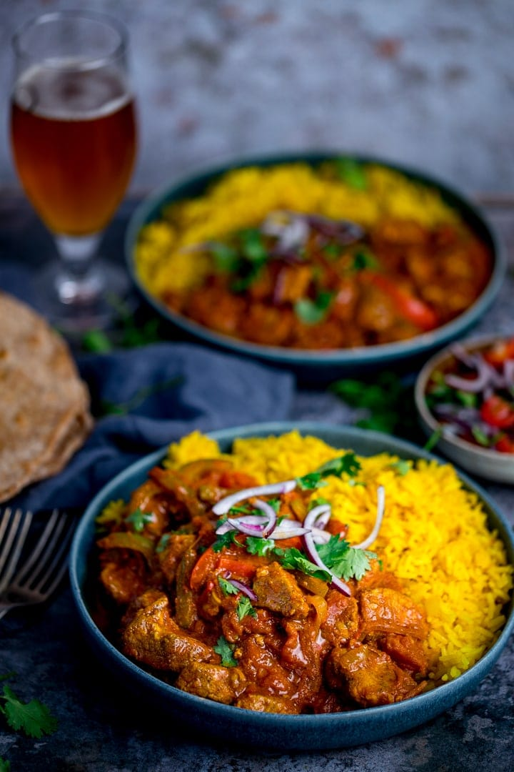 Chicken Jalfrezi with pilau rice - second bowl in the background