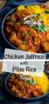 Two image collage of Chicken Jalfrezi with pilau rice