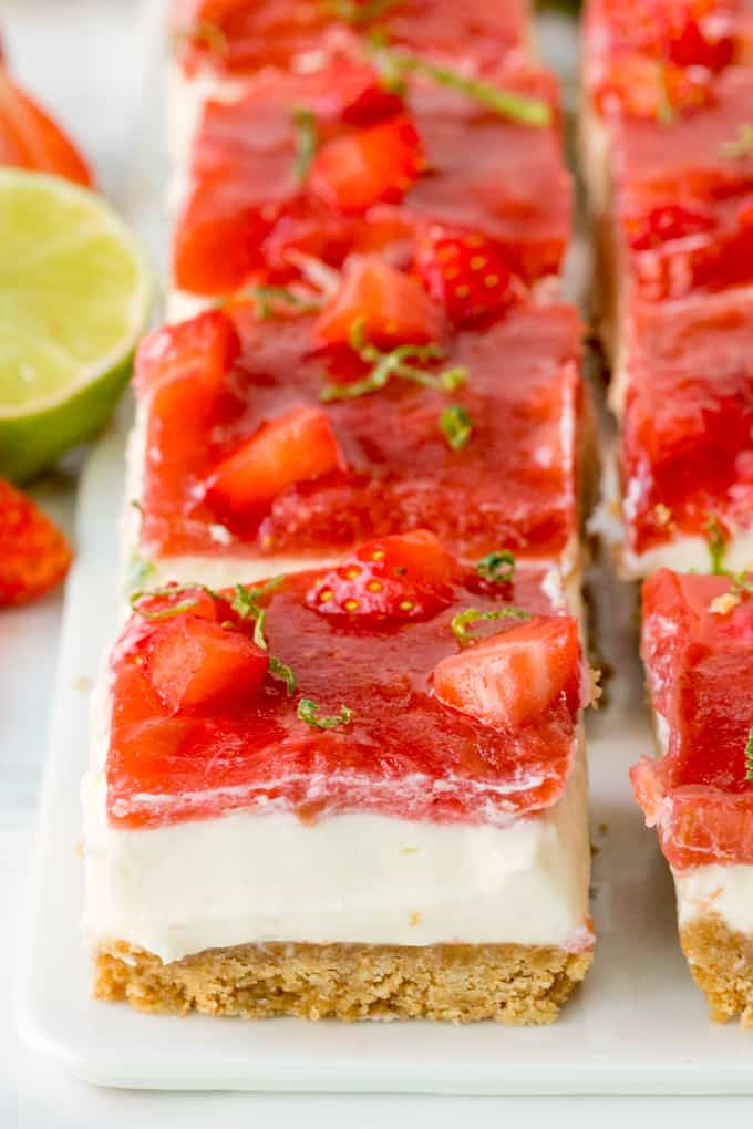 Close up of strawberry and rhubarb cheesecake bar