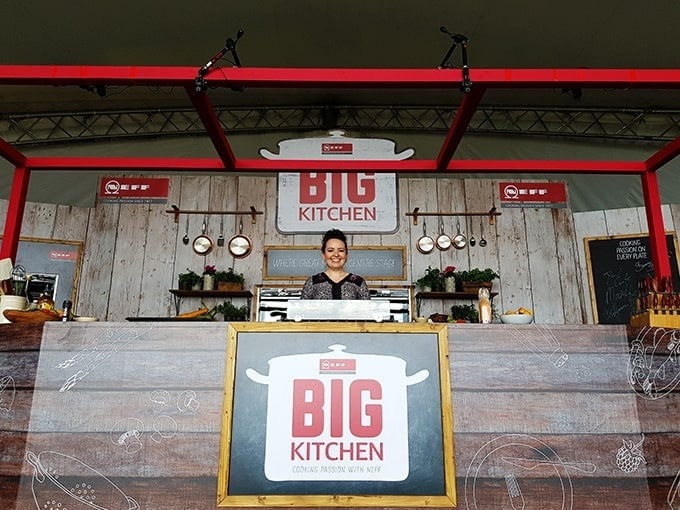 Nicky on stage at the Big Kitchen at the Big Feastival