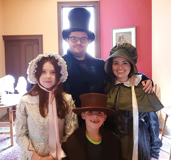 Dressing up in Victorian clothes at Ironbridge gorge (Darby Houses)