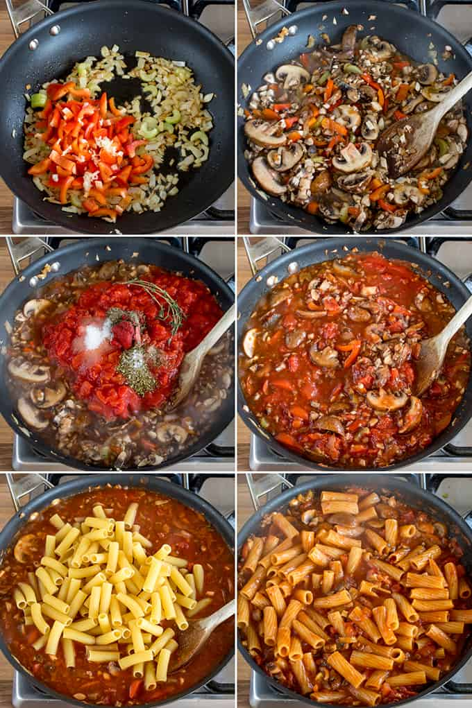6 images showing the preparation steps for one pot mushroom ragu with rigatoni.