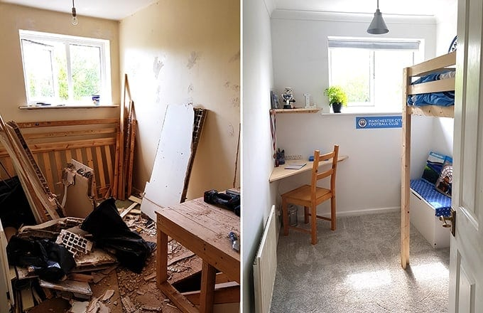 Before and after decoration of son's room